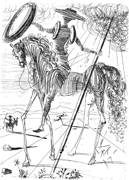 Don Quixote, etching by Salvador Dali